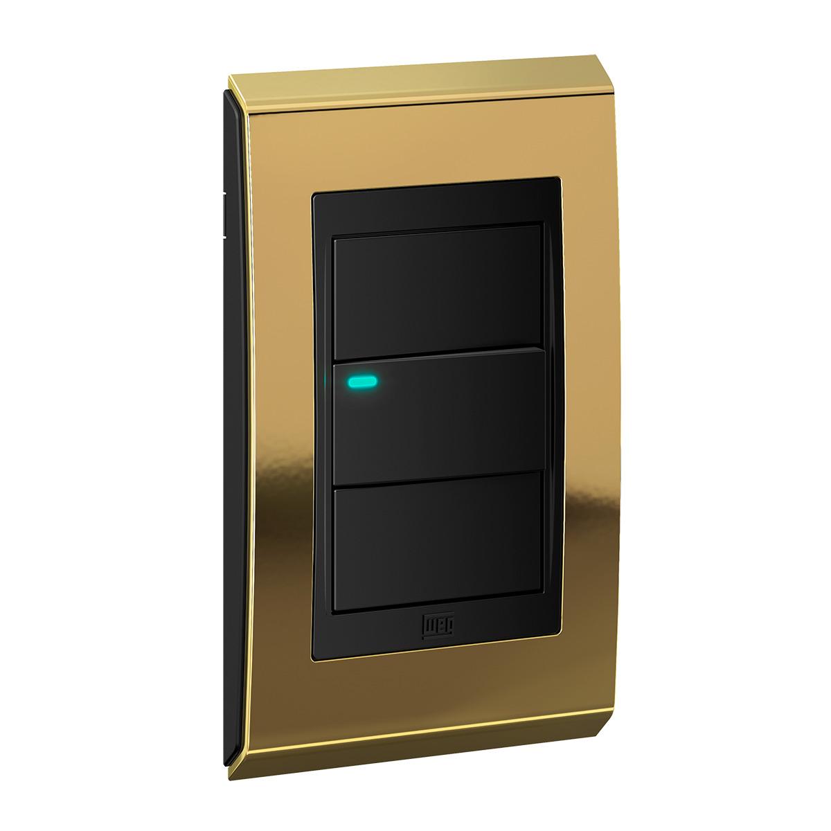 Conjunto 1 Interruptor LED - Refinatto Concept- Ouro / Preto