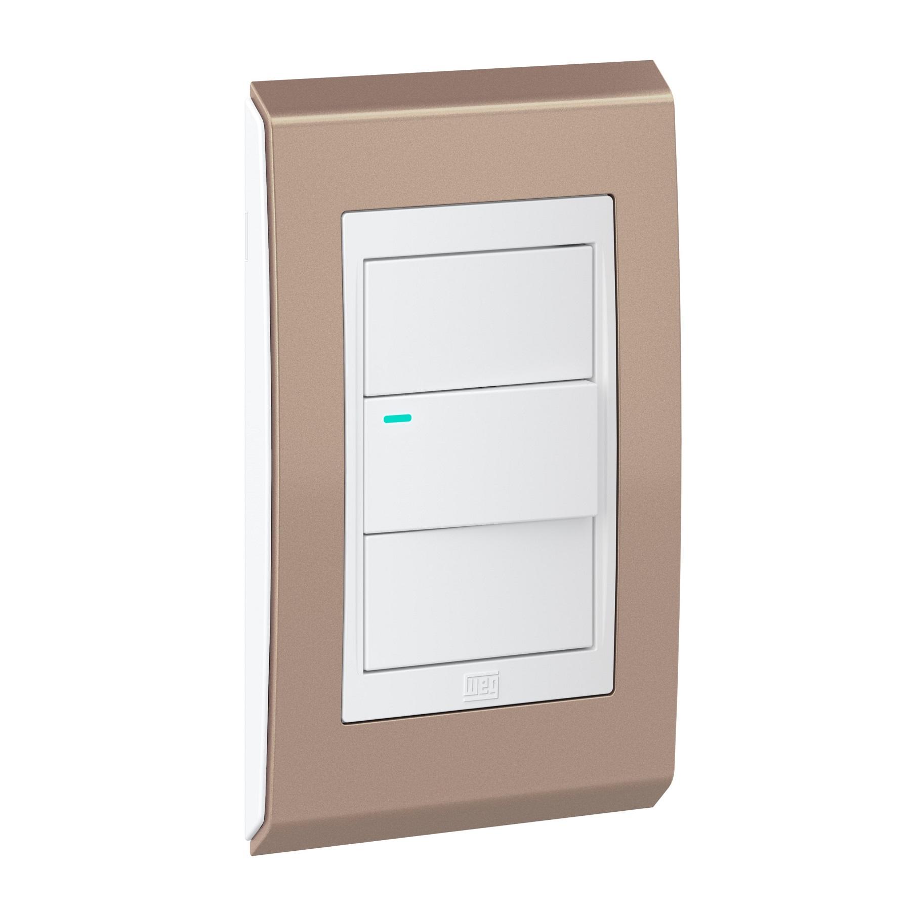 Conjunto 1 Interruptor LED - Refinatto Concept- Rosé Gold / Branco