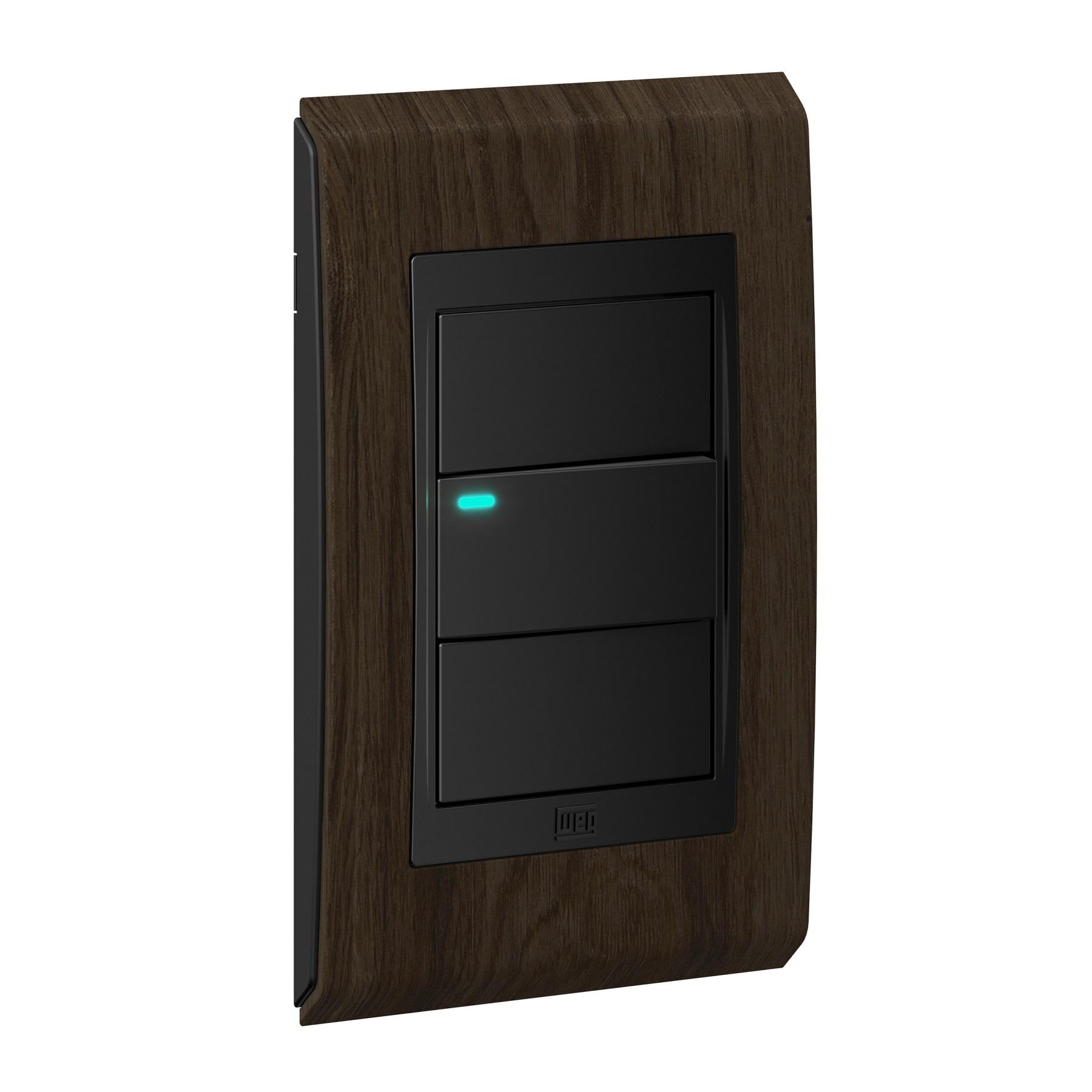 Conjunto 1 Interruptor LED - Refinatto Concept- Tabaco / Preto