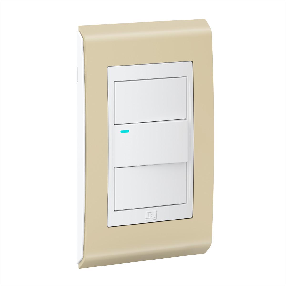 Conjunto 1 Interruptor LED - Refinatto Style - Areia / Branco
