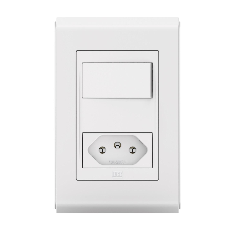 Conjunto 1 Interruptor Paralelo + 1 Tomada de 10A - Refinatto Style - Br/Br - Acetinado