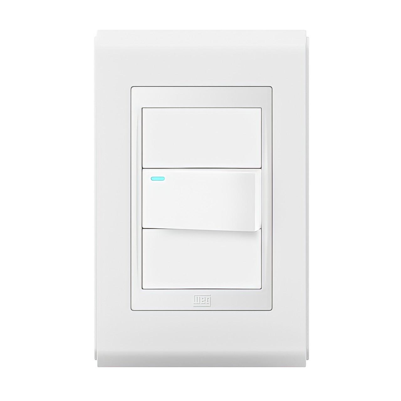 Conjunto 1 Interruptor Simples/Paral C/led - Refinatto Style - Br/Br - Acetinado