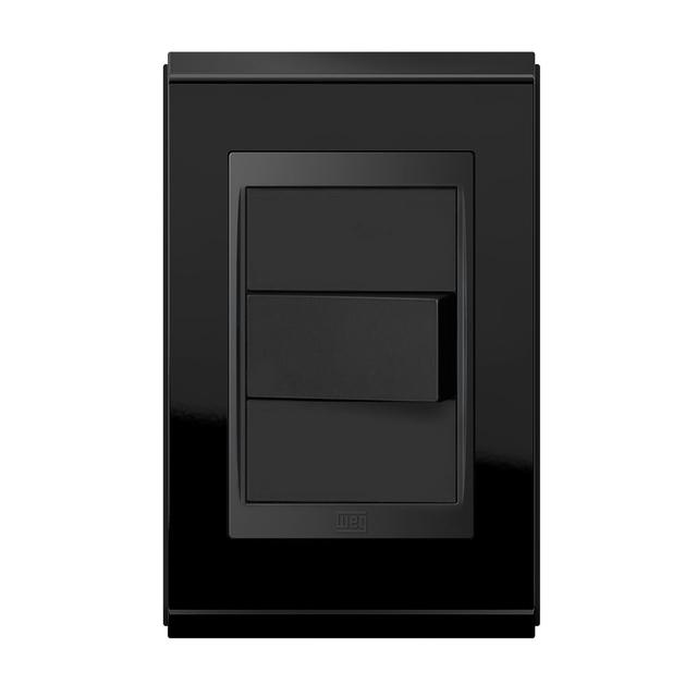 Conjunto 1 Interruptor Simples - Refinatto Premium - Preto Alto Brilho / Preto