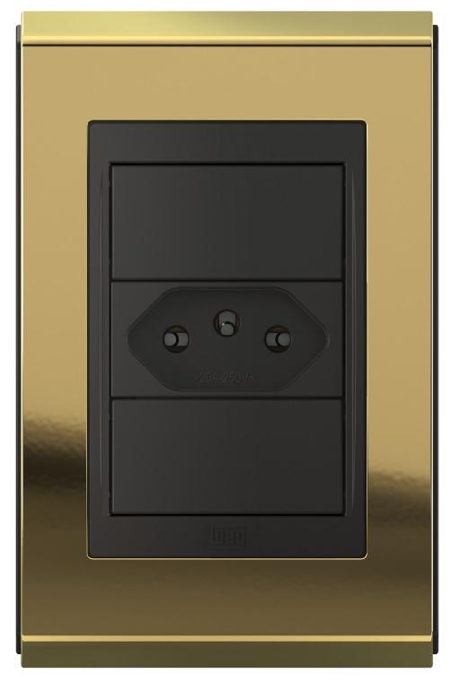 "Conjunto 1 tomada 20A + Placa 4x2"" - Refinatto Concept- Ouro/PT"
