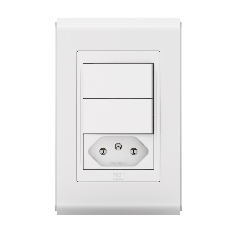 Conjunto 2 Interruptor Simples + 1 Tomada 10A - Refinatto Style - Br/Br - Acetinado