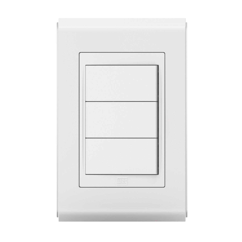 Conjunto 3 Interruptor Simples - Refinatto Style - Br/Br - Acetinado
