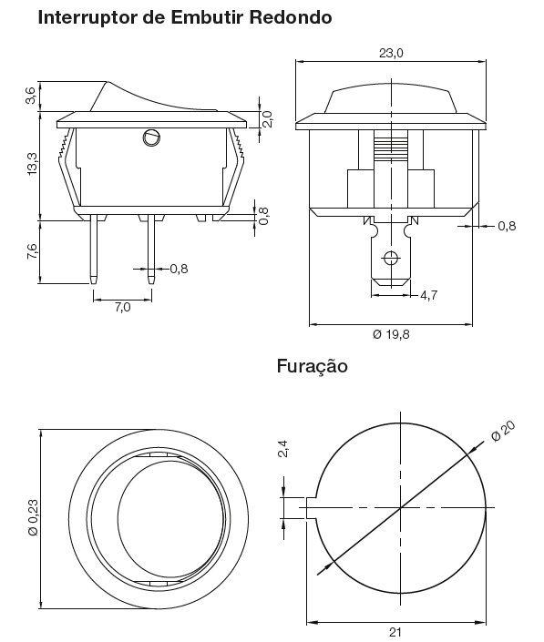 INTERRUPTOR EMBUTIR REDONDO SIMPLES 12A/250V