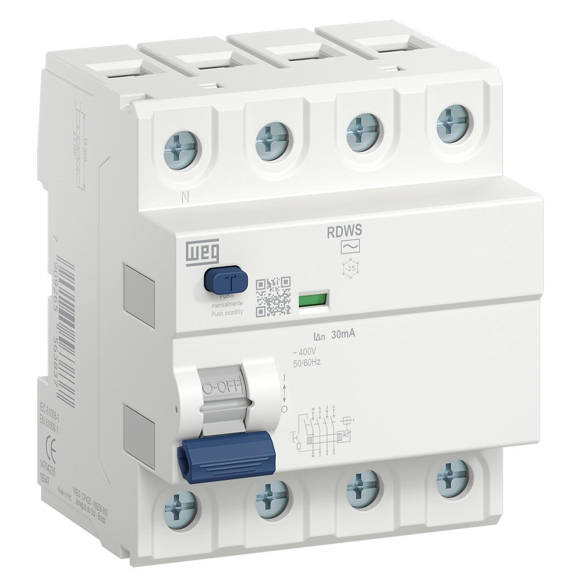 Interruptor Diferencial Residual RDWS-Ac-30-80-4 (entrega em 5 dias)