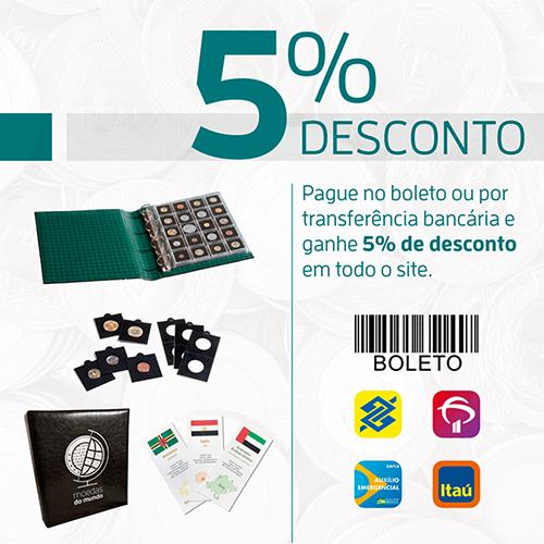 5 % de desconto em toda loja com pagamento via boleto ou transferência