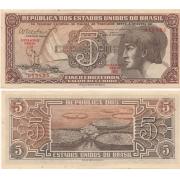C112 Cédula Brasil 5 Cruzeiros Índio (Série 100) 1962 MBC