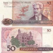 C182* Cédula Brasil 50 Cruzados Oswaldo Cruz 1986 FE