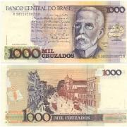 C194* Cédula Brasil 1000 Cruzados Machado de Assis 1988 FE