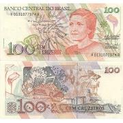 C214* Cédula Brasil 100 Cruzeiros Cecília Meireles 1990 FE