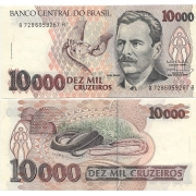 C225 Cédula Brasil 10000 Cruzeiros Vital Brazil 1993 FE