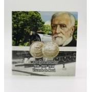 Cartela da Série de 200 réis do VISCONDE DE MAUÁ + três moedas anos 1936, 1937 e 1938 - MBC