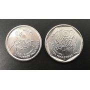 Casal de moedas 50 Anos da FAO - 10 e 25 centavos de 1995 - FC (no coin holder da Leuchtturm)