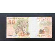 Cédula 50 Reais BA Guido Mantega/Henrique Meirelles Flor de Estampa