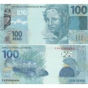 """Cédula Brasil 100 Reais EG (Levy/Tombini) """"Escassa"""" FE"""