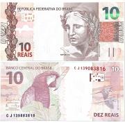 """Cédula Brasil 10 Reais CJ (Meirelles/Ilan) """"Escassa"""" FE"""