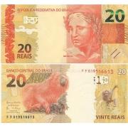 Cédula Brasil 20 Reais FF (Meirelles/Ilan) FE