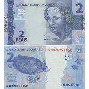 Cédula Brasil 2 Reais DH (Meirelles/Tombini) FE