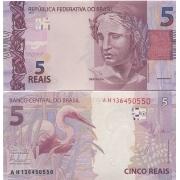 Cédula Brasil 5 Reais AH (Mantega/Tombini) FE