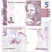 """Cédula Brasil 5 Reais DF (Meirelles/Ilan) """"Escassa"""" FE"""