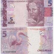 Cédula Brasil 5 Reais DF (Meirelles/Tombini) FE