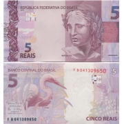 Cédula Brasil 5 Reais FB (Meirelles/Ilan) FE