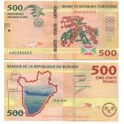 Cédula Burundi 500 Francos 2015 FE
