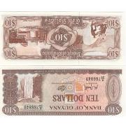 Cédula Guyana 10 Dollars Flor de Estampa