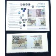 Cédula R$ 200,00 Lobo-Guará (FE) + informativo com a descrição dos elementos de segurança
