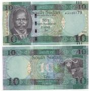 Cédula Sudão Do Sul África 10 Dollars Flor de Estampa