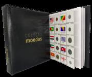 Kit Álbum tipo Fichário Coleção de Moedas + 30 Folhas + Etiquetas Moedas do Mundo