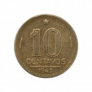 Moeda Brasil 10 Centavos 1943 Getúlio Vargas - Níquel Rosa MBC