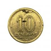 Moeda Brasil 10 Centavos 1947 Getúlio Vargas MBC