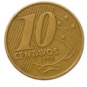 Moeda Brasil 10 Centavos 1998 MBC
