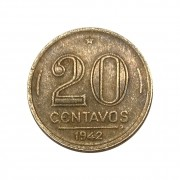 Moeda Brasil 20 Centavos 1942 Getúlio Vargas - Níquel Rosa MBC