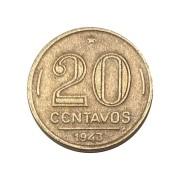 Moeda Brasil 20 Centavos 1943 Getúlio Vargas - Níquel Rosa MBC