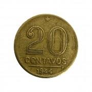 Moeda Brasil 20 Centavos 1944 Getúlio Vargas MBC