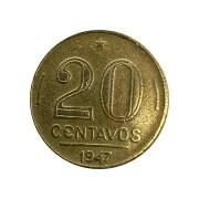Moeda Brasil 20 Centavos 1947 Getúlio Vargas MBC