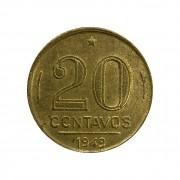 Moeda Brasil 20 Centavos 1949 Ruy Barbosa MBC