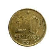 Moeda Brasil 20 Centavos 1951 Ruy Barbosa MBC
