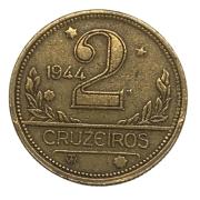 Moeda Brasil 2 Cruzeiros 1944 Com Sigla MBC