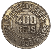 Moeda Brasil 400 Réis 1935 MBC