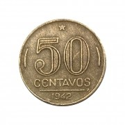 Moeda Brasil 50 Centavos 1942 Getúlio Vargas - Níquel Rosa MBC