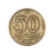 Moeda Brasil 50 Centavos 1943 Getúlio Vargas - Níquel Rosa MBC