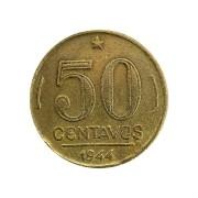 Moeda Brasil 50 Centavos 1944 Getúlio Vargas MBC
