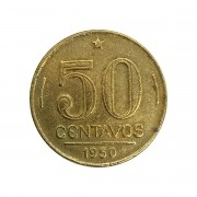 Moeda Brasil 50 Centavos 1950 Gaspar Dutra MBC