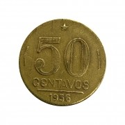 Moeda Brasil 50 Centavos 1956 Gaspar Dutra MBC